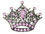 Alilang Antique Golden Tone Pink Rhinestones Vintage Princess Queen Crown Brooch Pin