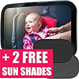 DadsLove Baby Car Mirror + 2 Free Sunshades | Safely Monitor Infant Child in Rear Facing Car Seat, Wide View Shatterproof Adjustable Acrylic 360°for Backseat, Crash Tested and Certified for Safety