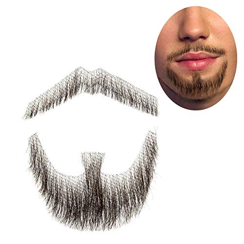 100% Human Hair Full Hand Tied Fake Mustache Beard Makeup for Entertainment/Drama/Party/Movie Prop (#3 Brown)]()