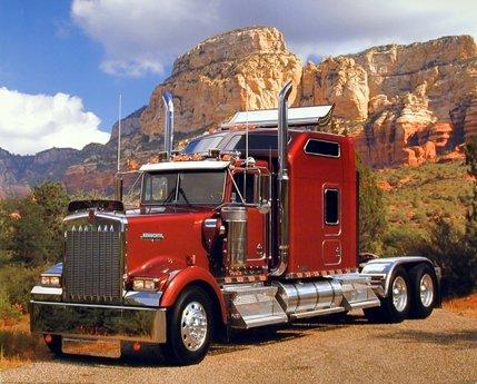 Maroon Kenworth Semi Big Rig Diesel Truck Wall Decor Art Print Picture (8x10) (Semi Truck Wall Art)