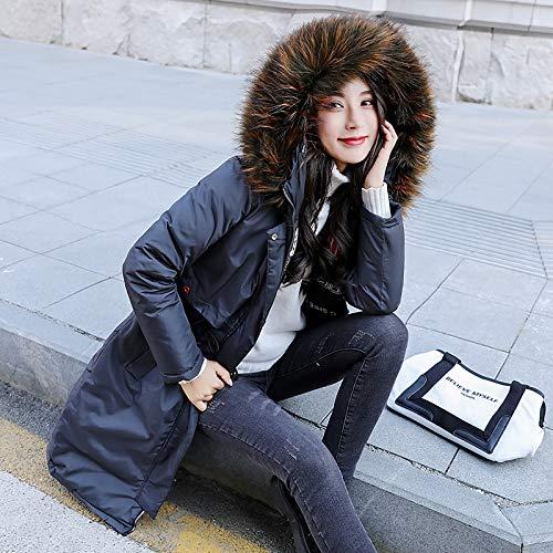 Espesar Outdoor Casuales Largos Parka Capucha Invierno Con Parkas Manga Pluma Vintage Fashion Chaqueta Gris Larga Mujer Elegante Caliente Estampadas De Mujeres Piel wqgxnYxpZT