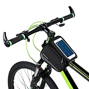 Allnice 3 in 1 Design Waterproof Cycling Bike Bicycle Front Bag Top Tube Frame Bag Pannier Double Pouch Bike Bicycle Accessory for 5.7 inches Cellphone Smartphone