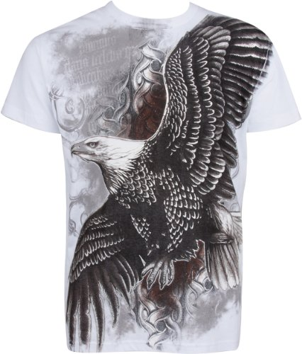 TG455T Flying Eagle Metallic Silver Embossed Short Sleeve Crew Neck Cotton Mens Fashion T-Shirt - White / - Jersey Stores Shore Outlet
