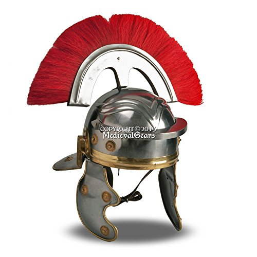 Medieval Gears Brand Roman Wearable Imperial Gallic Centurion Helmet w/ Red Crest & Liner LARP SCA by Medieval Gears