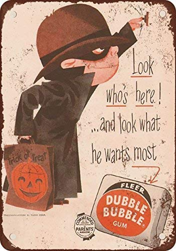 Unoopler 1957 Bubble Gum and Halloween Vintage Look Reproduction Metal Tin Sign 8X12 Inches