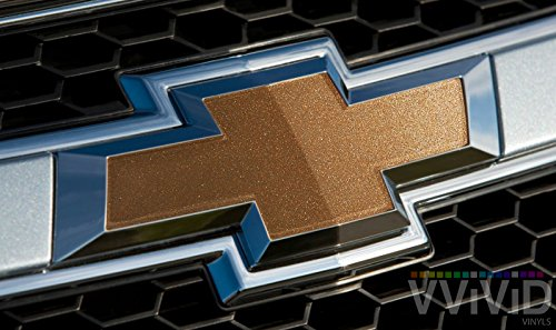 - VVIVID Gold Metallic Gloss Auto Emblem Vinyl Wrap Overlay Cut-Your-Own Decal For Chevy Bowtie Grill, Rear Logo Diy Easy To Install 11.80 Inches x 4 Inches Sheets (x2)