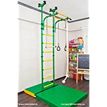 Childrens indoor home gym (swedish wall) with gymnastic rings, rope, and trapeze bar Comet 5