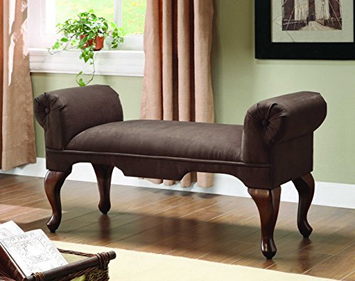 Aston Bench with Rolled Arm, Chocolate - Bench Style Storage Anne Queen