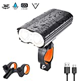 OTraki LED Bicycle Headlight 2000 Lumens USB Rechargeable Bike Front Light Waterproof Mountain Bicycle Light Front 4 Modes with 2 Mount Holders Safety Cycling Night Light Set for Riding Walking