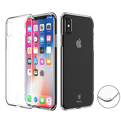 iPhone X Case, Baseus Shock-Absorption Airbag Cushion Thin Fit Crystal Clear Soft Premium TPU Cover for Apple iPhone X / 10 (2017 Release) (Clear)