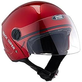 Studds TRACK Super Open Face EPS Helmet (Cherry Red, Large)