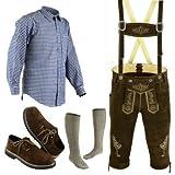 Bavarian Oktoberfest Trachten Lederhosen Bundhosen Costumes Brown 4 Pc Set (38)