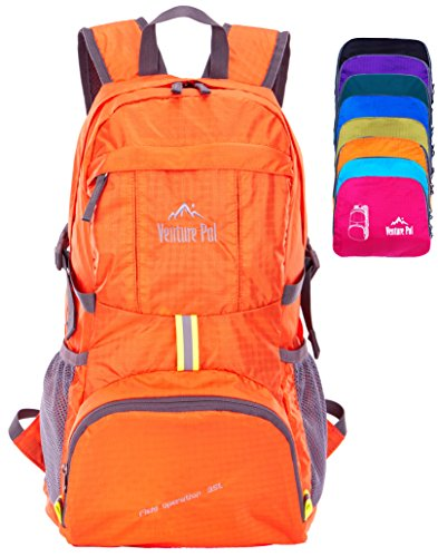 Venture Pal Ultralight Lightweight Packable Foldable Travel Camping Hiking Outdoor Sports Backpack Daypack (Orange) by Venture Pal