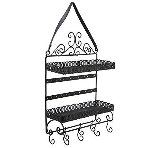 Black Metal Scrollwork 2 Tier Earring / Necklace / Bracelet / Cosmetics Hanging Organizer Shelf Rack by MyGift