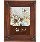 Prinz Fleur De Lis Dark Walnut Solid Wood Frame with Antique Copper Metal Accents, 4 by 6-Inch
