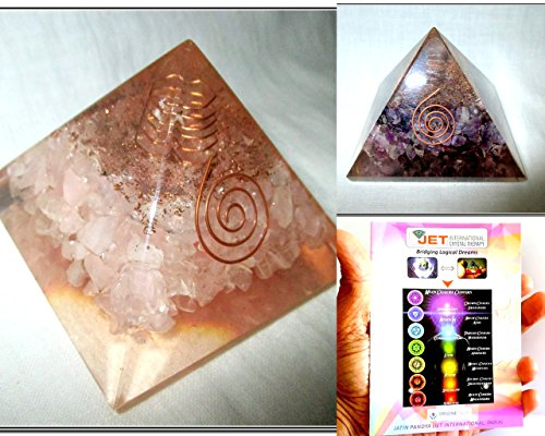 Exquisite Two (2) Amethyst & Rose Quartz Chakra Orgone Pyramid 1 each Best Offer Free Booklet Jet International Crystal Therapy Crystal Gemstones Copper Metal by Jet International