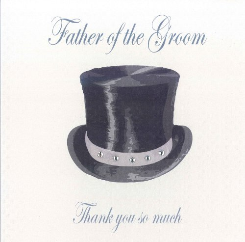 - WHITE COTTON CARDS Father of The Groom Much' Handmade Wedding Thank You Card (Top Hat Design)