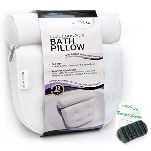 IndulgeMe Luxurious Bath Pillow PLUS Konjac Bath Sponge, Extra Large Suction Cups, No More Mold Quick Drying Mesh