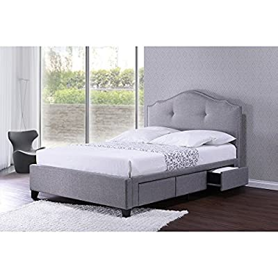 Baxton Studio Armeena Linen Modern Storage Bed with Upholstered Headboard