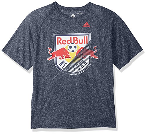 adidas MLS New York Red Bulls Adult Men Striker Climalite S/Tee, Small, Collegiate Navy Heathered - Red Team Issue T-shirt