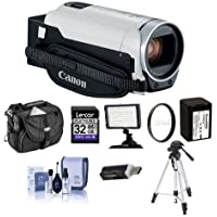 Canon VIXIA HF R800 3.28MP Full HD Camcorder, White - Bundle With 43mm UV Filter, Video Bag, 32GB SDHC Card, Video Light, Tripod, Spare Battery, Cleaning Kit, Card Reader, Dual Shoe Bracket