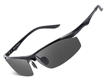 fawova Gafas de Sol Hombre Polarizadas,Gafas Running Hombre con Aluminio Ultraligero, Gafas Deportivas para Conducir Ciclismo UV400 Protección 70mm (Smurai ...