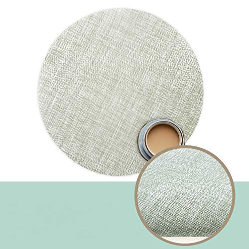 WJ 6pcs Round Placemats Heat-Resistant Placemats Stain Resistant Anti-Skid Washable Table Mats Vinyl Placemats for Dining Table (Mint Green)