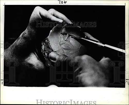Vintage Photos 1981 Press Photo Marshal Field Cameo Carving - ora31338