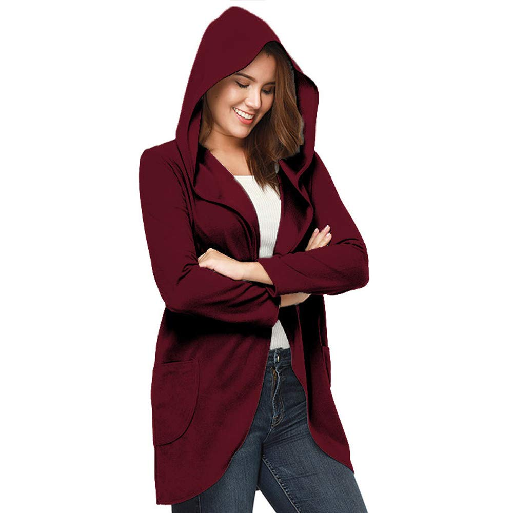 Spbamboo Womens Cardigans Open Front Long Sleeve Hooded Coat Casual Tops Outwear by Spbamboo