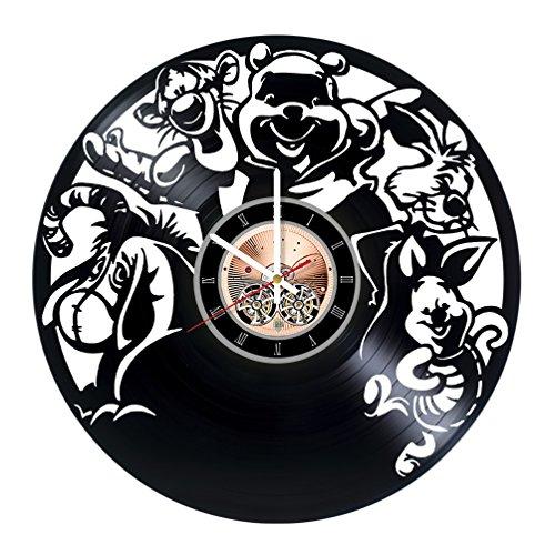 Winnie the Pooh Cartoon Vinyl Record Wall Clock - Nursery Room wall decor - Gift ideas for kids, teens, children - Funny Cartoon Unique Art Design