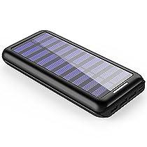 Caricabatterie Portatile Power Bank Plochy 24000mAh Batteria Esterna 2 Porte di Entrata(Lighting & Micro 2.1A USB) con 3 Porte USB(5.8A) Caricabatterie Solare