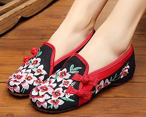 Icegrey Hecho A Mano Bordado Oxford Slip En Los Zapatos Para Las Mujeres Negro