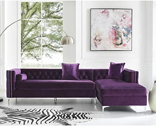 Inspired Home Giovanni Velvet Modern Contemporary Button Tufted with Silver Nailhead Trim Metal Y-leg Right Facing Chaise Sectional Sofa, Purple