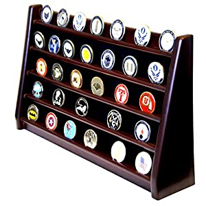 DECOMIL - 5 Rows Shelf Challenge Coin Holder Display Casino Chips Holder Solid Wood - Cherry Finish from DECOMIL LLC