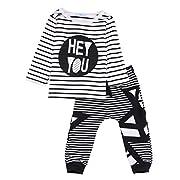 2Pcs Baby Boys Girls Outfits Long Sleeve T-Shirt Tops + Long Pants Clothing Sets Autumn -Glosun (0-6 Months)