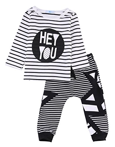 2pcs Baby Boy T-shirt Tops+Pants Casual Outfits (White+Black) - 1