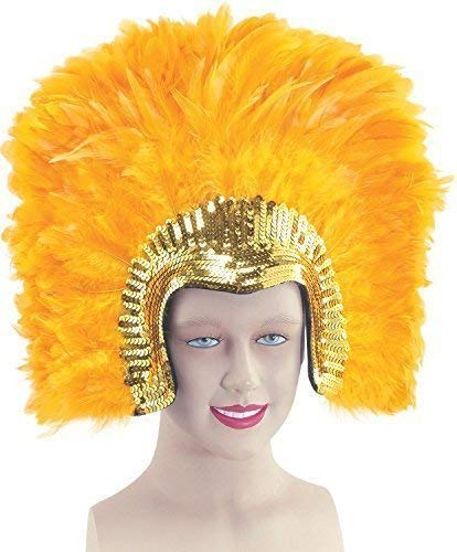 (Ladies 1920s Flapper Showgirl Drag Queen Vegas Cabaret Sequinned Large Feather Headdress Fancy Dress Costume Outfit Accessor (Gold))