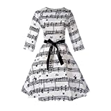 iShine Women\'s Vintage 1950s Music Notes Print 3/4 Sleeve Swing Rockabilly Party Cocktail Tea Dress with Belt