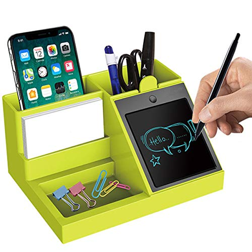 MDee Pen Holder, Multi-Function Desktop Storage Box, Stationery Organizer Container,Equipped with LCD Writing Tablet, Used as Sticky Notes, Suitable for Home, Office, Students.