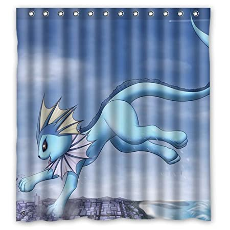 Pokemon Blue Eevee Custom Personalized Waterproof Shower Curtain Bathroom Curtains 60x72 Inches Amazoncouk Kitchen Home