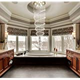 Saint Mossi® Modern Contemporaray Crystal Droplet Chandelier Flushmount Double Swirl Design Ceiling Light