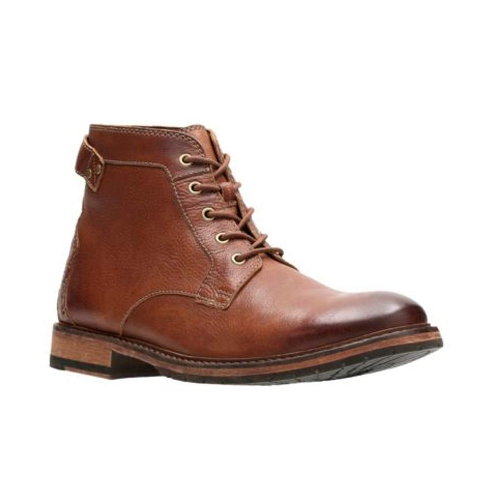 Dark Tan Leather Clarks Men's Clarkdale Bud Ankle Boots