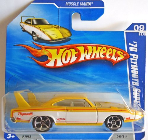 - 70 PLYMOUTH SUPERBIRD (metallic pearl yellow and white) * 2010 Hot Wheels #95/214 Muscle Mania 9/10 1:64-scale car on SHORT CARD