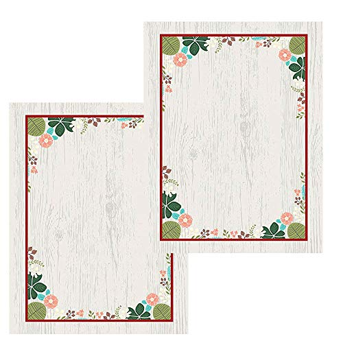 Meadowsweet Kitchens 8.5 x 11 Recipe Paper, Vintage Flowers Design (2-pack)