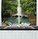 Ambesonne Waterfall Decor Kitchen Curtains by, Majestic Cascade Down to River Deep down in Forest Natural Wonders Photo, Window Drapes 2 Panels Set for Kitchen Cafe, 55W X 39L Inches, Green Blue