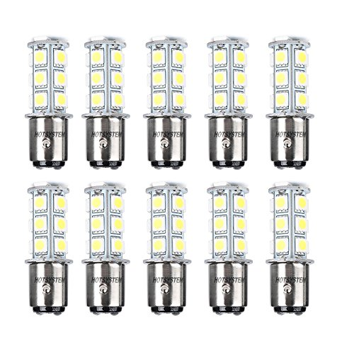 HOTSYSTEM LED Light Bulbs 1157 BAY15D P21/5W 2357 DC12V 18-5050 SMD for Car RV SUV Camper Trailer Trunk Interior Reversing Backup Tail Turn Signal Corner Parking Side Marker Lights(White,Pack of 10)