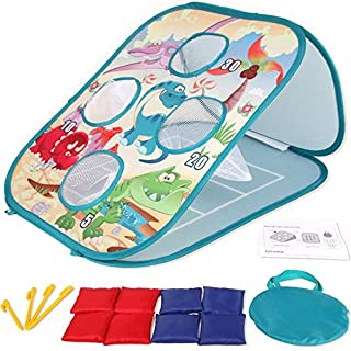 Yuham Outside Toys for Kids Ages 4-8, Bean Bag Toss Indoor Outdoor Games for Kids Cornhole Sets, Outdoor Toys for Toddlers Age 3-5, 8-Beanbags. Best Gifts for Boys Girls and Family