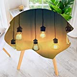 aolankaili Round Tablecloths-Style Lighting Lamps Hanging Original for a Art Design Yellow Green Waterproof Oilproof Hotproof Table Cloth Table Multiple Styles 50'' Round