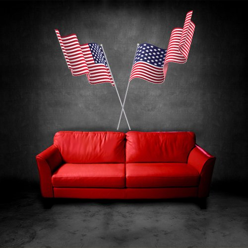 Full Color Wall Vinyl Sticker Decals Decor Art Bedroom Design Mural USA Flag Banner America - Banner Vinyl Colour Full
