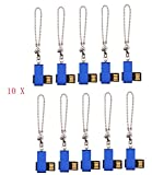 FEBNISCTE 100pcs Bulk Pack Mini Metal Blue Swivel 256MB Flash Memory Stick